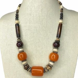 Vintage African Horn Resin and Bone Necklace